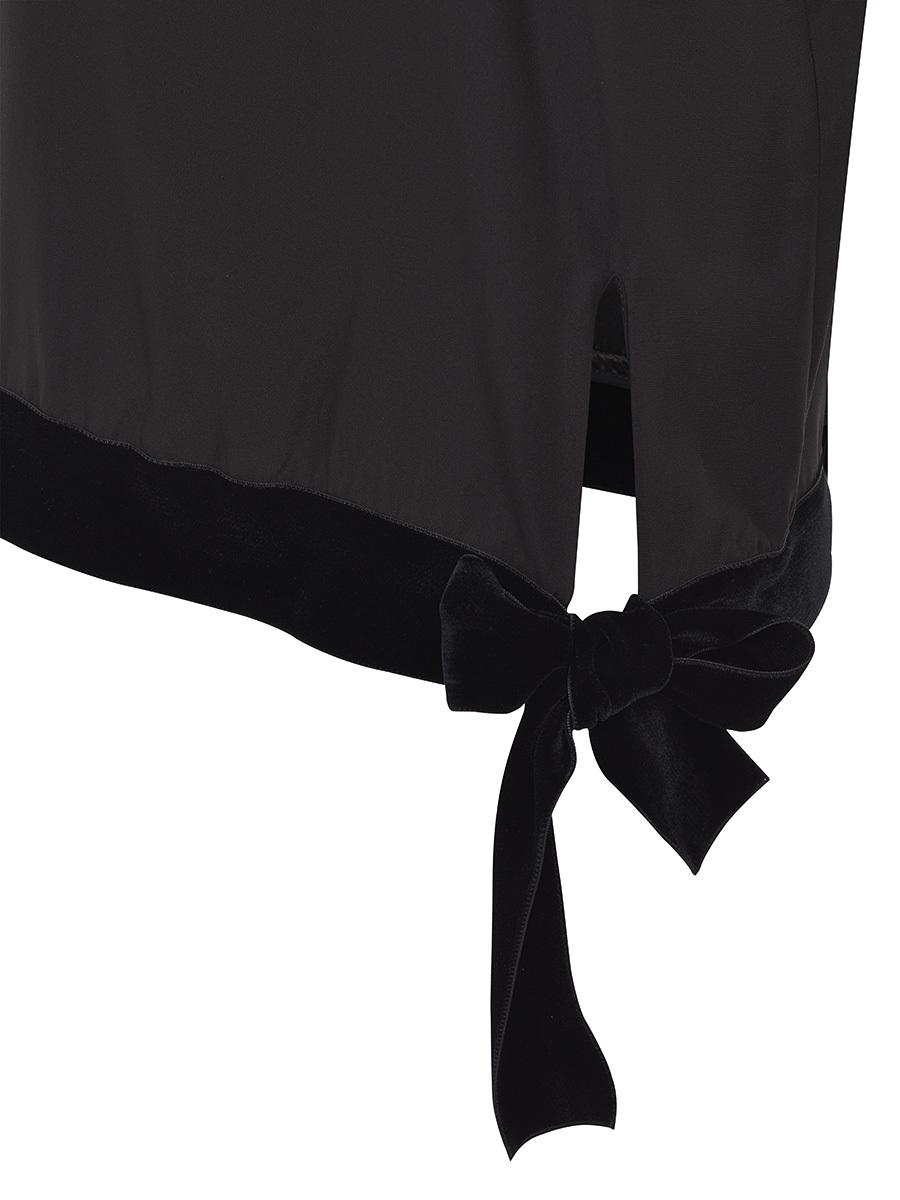 Satin Top With Velvet Details